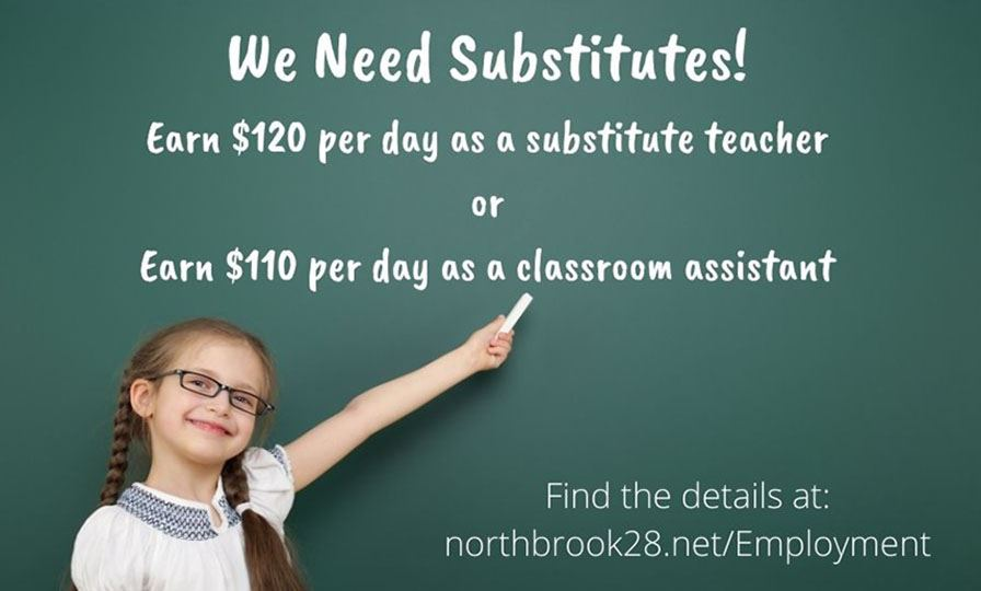 "girl pointing to chalkboard sign reading ""We Need Substitutes"""